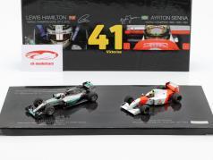 2-Car Set 41. carrière overwinning formule 1 Hamilton (2015) en Senna (1993) 1:43 Minichamps