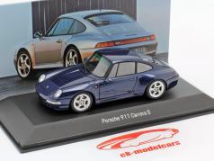 Porsche 911 Carrera S (993) Bouwjaar 1997 zenith blauw metaalachtig 1:43 Spark