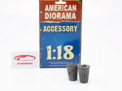 Set With 2 trash cans grey 1:18 American Diorama