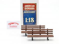 Ensemble avec 2 Bancs de parc 1:18 American Diorama