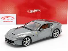 Ferrari F12 Berlinetta Jaar 2012 grijs metallic 1:18 HotWheels Foundation