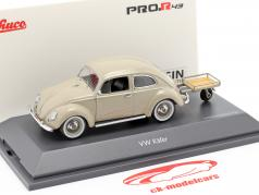Volkswagen VW 椒盐脆饼甲虫 与 Auto Porter 米色 1:43 Schuco