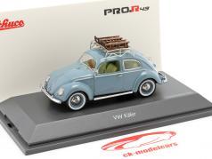 Volkswagen VW Brezelkäfer mit Schlitten hellblau 1:43 Schuco