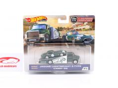 Set Team Transport: Jaguar Lightweight E-Type & Carry On 1:64 HotWheels