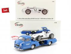 Set: Mercedes-Benz Race Voiture Transporteur Bleu Miracle avec Mercedes-Benz W196 #12 1:18 iScale