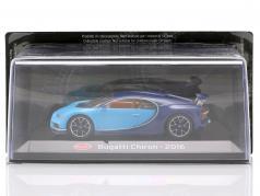 Bugatti Chiron 建设年份 2016 轻的 蓝色的 / 黑暗的 蓝色的 1:43 Altaya