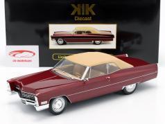 Cadillac DeVille met Softtop Bouwjaar 1967 bordeaux-rood metallic 1:18 KK-Scale