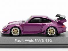 Porsche 911 (993) RWB Rauh-Welt morado metálico 1:43 Schuco