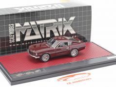 Ford Mustang Fastback Shorty Byggeår 1964 mørk rød metallisk 1:43 Matrix