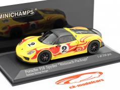 Porsche 918 Spyder Weissach Package Kyalami Racing Design année de construction 2015 jaune / rouge 1:43 Minichamps