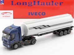 Iveco Stralis Öltransporter blau / weiß / schwarz 1:43 NewRay
