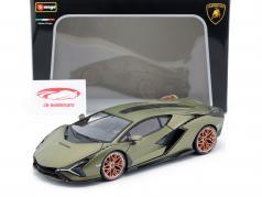 Lamborghini Sian FKP 37 Año de construcción 2020 estera verde oliva 1:18 Bburago