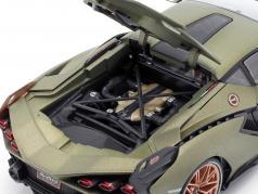 Lamborghini Sian FKP 37 Год постройки 2020 мат оливково-зеленый 1:18 Bburago