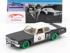 Dodge Monaco Bluesmobile Blues Brothers 1980 preto / branco / verde 1:24 Greenlight