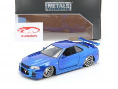 Brian´s Nissan Skyline GT-R (R34) Fast en Furious blauw 1:24 Jada Toys