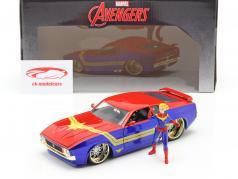 Ford Mustang Mach 1 1973 Avec Avengers Figure Captain Marvel 1:24 Jada Toys
