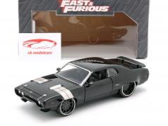 Dom's Plymouth GTX Fast and Furious 8 2017 preto 1:24 Jada Toys