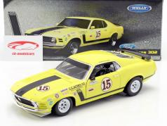 Ford Mustang Boss 302 Ano 1970 #15 George Follmer amarelo 1:18 Welly