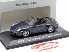 Porsche 911 (997) Carrera 4 Cabriolet 2005 dunkelblau metallic 1:43 Minichamps