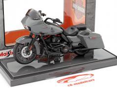 Harley Davidson CVO Road Glide Año de construcción 2018 gris / negro 1:18 Maisto