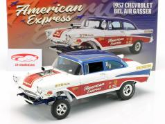 Chevrolet Bel Air Gasser American Express 1957 Wit / rood / blauw 1:18 GMP