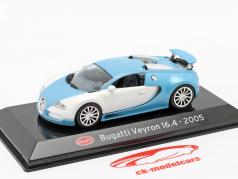 Bugatti Veyron 16.4 Année de construction 2005 blanc mat / Bleu clair 1:43 Altaya