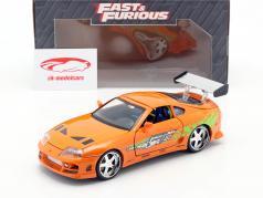 Brian's Toyota Supra van de film Fast and Furious 7 2015 oranje 1:24 Jada Toys