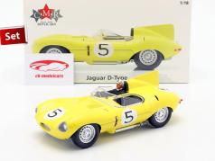 Set: Jaguar D-Type #5 4to 24h LeMans 1956 Con Figura del conductor 1:18 CMR