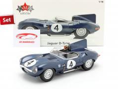 Stel: Jaguar D-Type #4 Winnaar 24h LeMans 1956 Met Bestuurdersfiguur 1:18 CMR