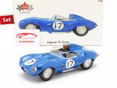 Set: Jaguar D-Type #17 3º 24h LeMans 1957 Com Figura do motorista 1:18 CMR