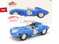 Set: Jaguar D-Type #17 3rd 24h LeMans 1957 with driver figure 1:18 CMR