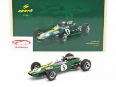 Jim Clark Lotus 33 #5 Campeão mundial Grã Bretanha GP Fórmula 1 1965 1:18 Spark