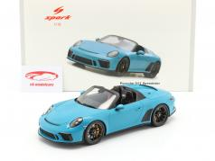 Porsche 911 (991 II) Speedster year 2019 light blue 1:18 Spark