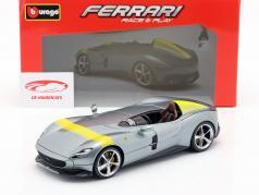 Ferrari Monza SP1 Año de construcción 2019 gris metálico / amarillo 1:18 Bburago