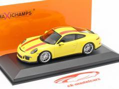 Porsche 911 R year 2019 yellow / red 1:43 Minichamps