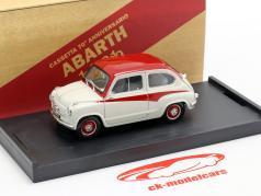 Fiat 600 Derivazione Abarth 750 Bouwjaar 1956 Wit / rood 1:43 Brumm