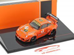 Porsche 911 (993) RWB #7 Rauh-Welt Jägermeister oranje 1:43 Ixo