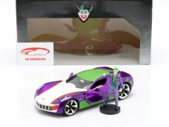 Chevrolet Corvette Stingray 2009 Con figura The Joker DC Comics 1:24 Jada Toys