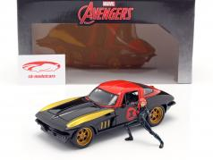 Chevrolet Corvette 1966 Con figura Black Widow Marvel Avengers 1:24 Jada Toys