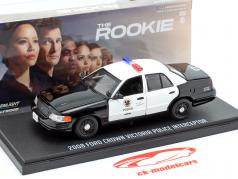 Ford Crown Victoria Police Interceptor 2008 The Rookie Preto / Branco 1:43 Greenlight