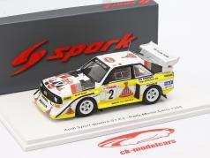 Audi Quattro S1 #2 4番目 Rallye Monte Carlo 1986 Röhrl, Geistdörfer 1:43 Spark