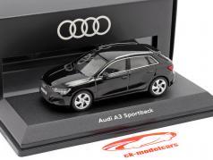 Audi A3 Sportback Bouwjaar 2020 mythe zwart 1:43 Audi