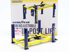 Einstellbare Vier-Säulen Hebebühne Goodyear gelb / blau 1:18 Greenlight