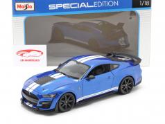 Ford Mustang Shelby 年 2020 青い 1:18 Maisto