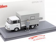 Barkas B 1000 Box body Stasi transporter with figure grey 1:43 Schuco
