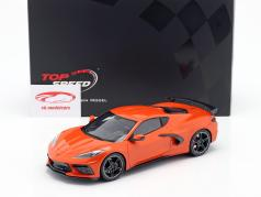 Chevrolet Corvette C8 Stingray with High Wing year 2020 orange 1:18 TrueScale