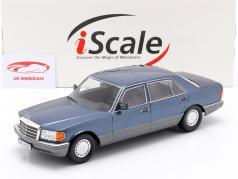 Mercedes-Benz 560 SEL S-klasse (W126) 1985 nautisk blå metallisk 1:18 iScale