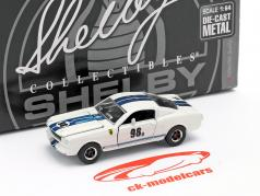 Shelby GT-350R #98B Racing versie 1965 Wit / blauw 1:64 ShelbyCollectibles