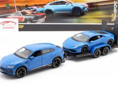 3-Car Set Lamborghini Urus Met Aanhangwagen en Lamborghini Huracan 1:24 Maisto