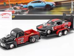 3-Car Set Ford F1 Pick-Up mit Anhänger und Ford Mustang 1:24 Maisto